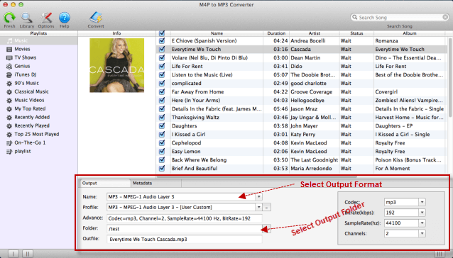 Select output MP3 format