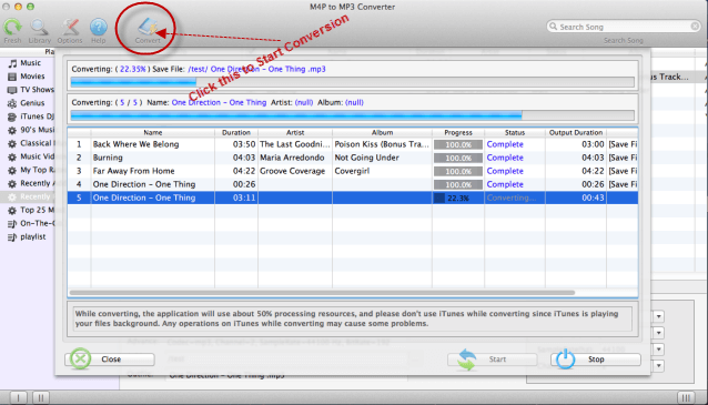 Start convert iTunes music to MP3